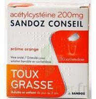 ACETYLCYSTEINE SANDOZ CONSEIL 200 mg Glé solution buvable en sachet-dose 20Sach/1g à  VIERZON